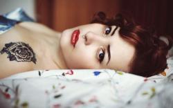 Girl Redhead Piercing Tattoo Rose