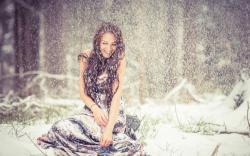 Girl Winter Snow Snowflakes