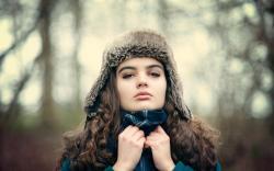 Portrait Girl Hat Scarf Winter