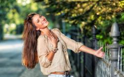 Girl Smile Fence Street Mood