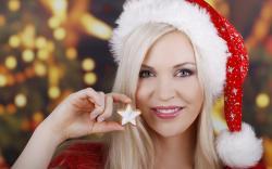 Girl Smile Look Star Christmas Lights