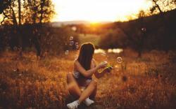 Girl Sunset Bubbles Mood