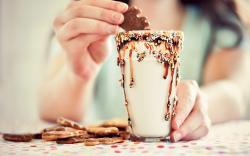 Glass Drink Milk Cookies Girl Mood