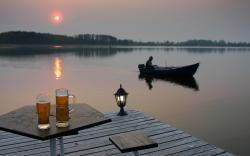 3840x2400 Wallpaper beer, fisherman, fishing, boat, wine glasses, evening, lake