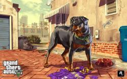 Grand Theft Auto V GTA5 Dog Artwork Game