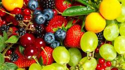 Fruits food cherries grapes strawberries berries blueberries wallpaper