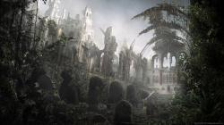 ... Ruins of a temple with a graveyard for 1600x900
