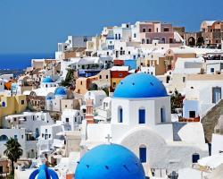 Santorini Greece Photography - Monaco Blue Domes White Church Photo Greek Art Travel Photography Mediterranean Decor