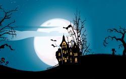 Holiday Halloween Scary Castle Creepy Full Moon Bats Pumpkins Cat Midnight
