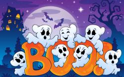 Halloween Funny Ghosts Creepy House Bats Boo Full Moon Art Vector