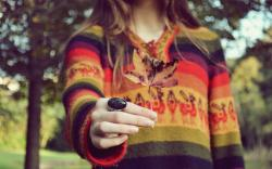 Girl Hand Ring Leaf Mood