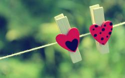 Clothespins Hearts Love Mood