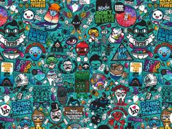 Abstract Wallpaper: Hipster Characters