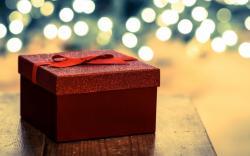 Holiday Gift Present Box Red Tape Ribbon Christmas