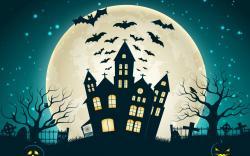 Holiday Halloween Scary House Creepy Full Moon Castle Bats Pumpkins