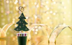 Holiday New Year Christmas Tree Decorations Ribbons Bokeh