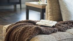 Home Life Couch Blanket Glasses Book