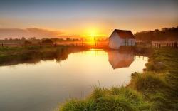 House nature sunset