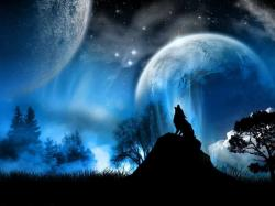 Howling wolf full moon