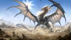 Wallpaper very huge white dragon