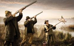 3840x2400 Wallpaper hunting, lake, gun, vacuum cleaner, duck