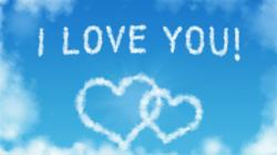 I Love You Heart Shaped Clouds in The Blue Sky Wallpaper 1366x768px