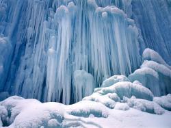 Frozen waterfall in Troms region, Norway0.