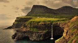 Wallpaper incredible waterfall landscape