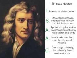 Acrostic poster of Isaac Newton (5 points)
