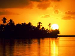 Free Landscape Wallpaper: Island sunrise scenery