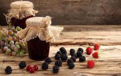 Jam Jars Berries Grapes Blackberries Raspberries Currants