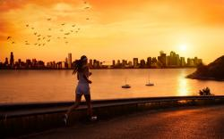 Jogging into sunset