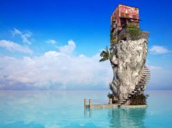 1280x960 Wallpaper rock, house, ladder, palm tree, sea, blue water