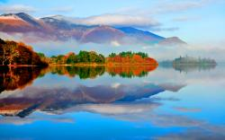 Lake autumn water reflection