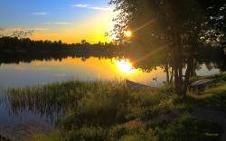 Boat Summer Sunset Lake Quiet Pond Evening Wallpaper 2560x1600px