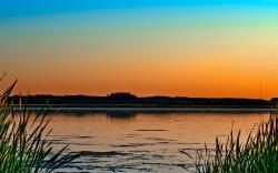 Lake sunset horizon
