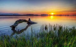 Lake sunset scenery