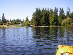 Kayaking paddling Lake Martha Snohomish County Washington State.