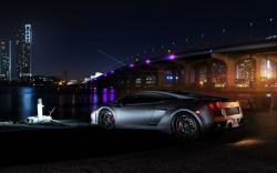 Lamborghini Gallardo Bridge Lights Night