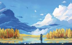 Girl Lake Clouds Landscape Drawing HD Wallpaper