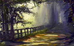 Landscape Road Fence Trees Art
