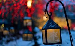 Lanterns Lights Snowflakes Winter Nature Christmas