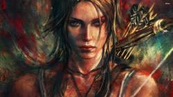 ... Lara Croft painting wallpaper 2560x1440 ...