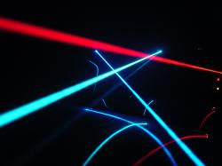 Laser beams in fog, reflected on a car windshield
