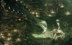 Little girl and dragon wallpaper 2560x1600