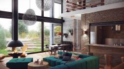 Russian designer Uglyanitsa Alexander created renderings of an elegant duplex loft-like residence for a Minsk, Belarus project.