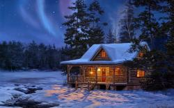 Winter Log Cabin Wallpaper 01
