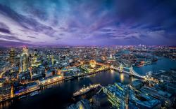 London evening city lights