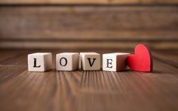 wooden blocks letters love red heart