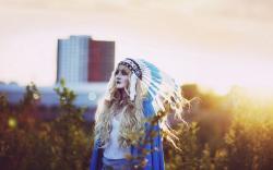 Lovely Girl Blonde Indian Headdress